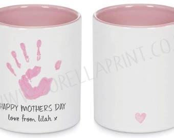 Your Childs Handprint Personalised Mug (Including Gift box)