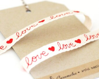 Love Print Valentine's Day twill cotton ribbon