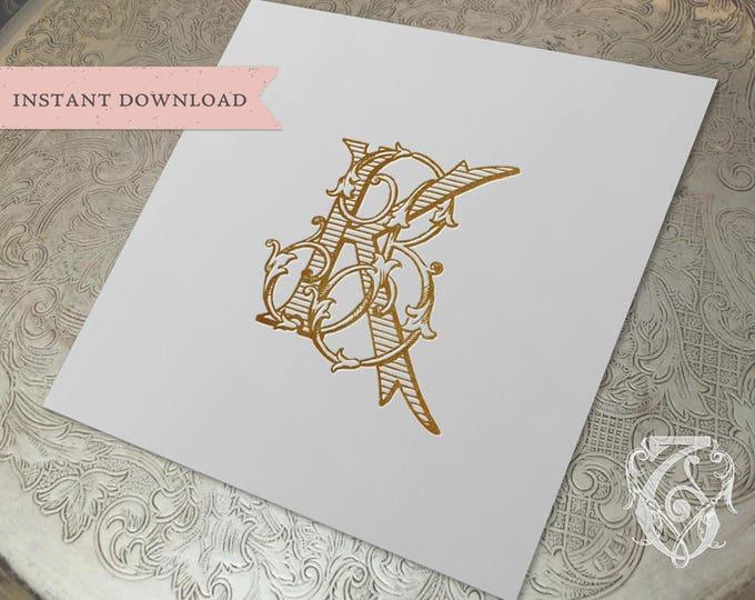 Vintage Wedding Monogram KB BK Wedding Duogram Digital Download K B