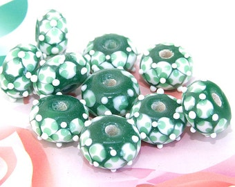 5beads/lot Charm Candy White Dot Bubble Rondelle Green Lampwork gemstone beads 8mmx14mm