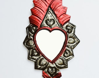 Milagro Heart / Black & Red Mexican Tin Ornament / Flaming Sacred Heart / Mexican Folk Art / Hand Painted Mirror / Home Decor / Ex Voto