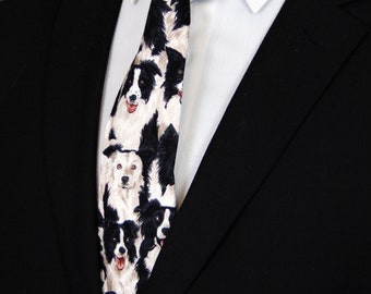 Border Collie – Neckties with Dogs, Black and White Border Collie Tie for Men or boys.
