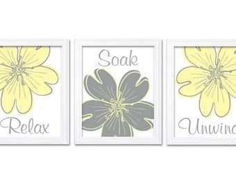 Bathroom Wall Art Relax Soak Unwind Yellow Grey Bathroom Wall Art Modern Bathroom Decor Set of 3 Flower Bath Art Prints