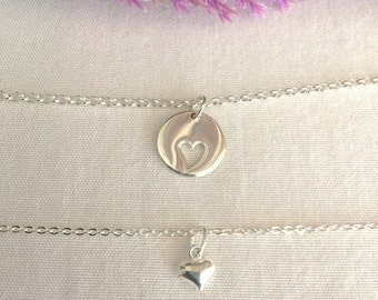 Mother Daughter Necklace, Mom Necklace, Sterling Silver, Family Necklace, Mother's Day, Heart Necklace, Everyday Necklace, Daughter Necklace