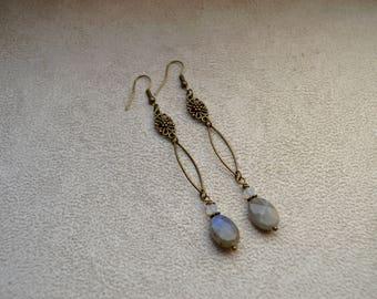 "Earrings ""Farrae"" labradorite and Swarovski Crystal, brass findings"
