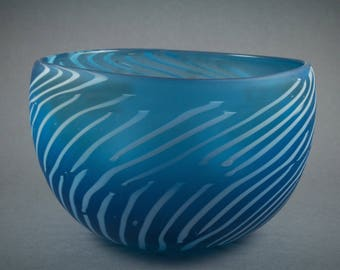 Aqua Cane Glass Bowl