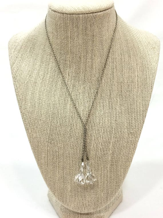 Silver Crystal Lariat Necklace, Clear Crystal Briolettes, Short Silvertone Chain, 1930s, Vintage Art Deco Wedding Jewelry,