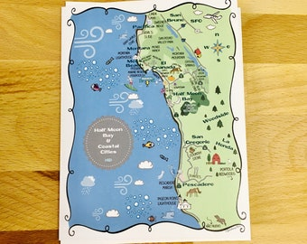 Half Moon Bay Map Full Color Note Card