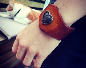 Orange heart - leather bracelet