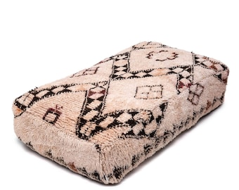 Moroccan Pouf, Floor Cushion, Beni Ourain Pouf Ottoman, Floor Pillow, Foot Stool, Refashioned from a Vintage Berber Rug. PVA012
