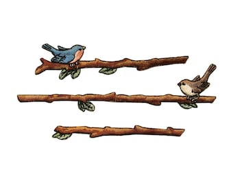ID 0552ABC Set of 3 Bird On A Branch Patches Embroidered Iron On Applique