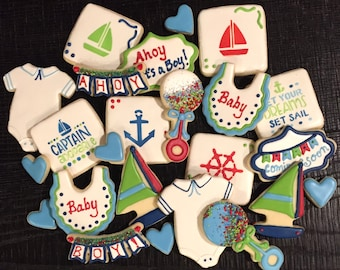 Decorated NAUTICAL theme cookies baby boy shower birthday parties SAILBOAT ANCHOR Onesie