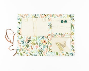 Small or Large Jewelry Case / Roll up Travel Case - Herb Garden in Natural - Rifle Paper Co.