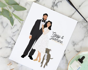 Wedding Portrait Guest Book,  Guest Book Couple Portrait, Guest Book with Blank Pages, Hardcover Wedding Guest Sign In Book