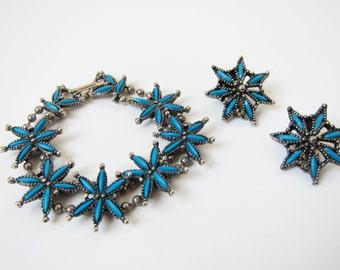 1970s vintage blue teal turquoise silver sea star jewelry bracelet clip earring set