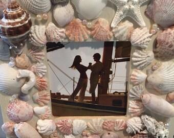 Sea Shell Picture Frame, beautiful Florida sea shells, perfect gift
