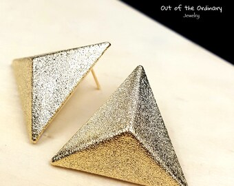 Golden Pyramid Earrings