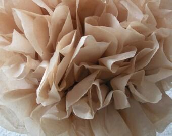 1 Tan Tissue Paper Pom Pom, Neutral Pom Poms, Wedding tissue paper poms, nursery decor, paper flowers
