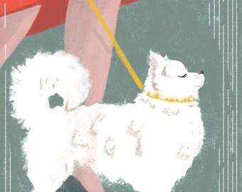 Cute dog with a chic girl under the rain - art print cute kawaii Parisian pomeranian puppy - A4 print