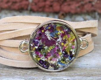 Wrap Bracelet, Real flowers, Suede bracelet, Leather Jewelry, Women accessories, boho, bohemain, hippie, hippie style, nature, terrarium