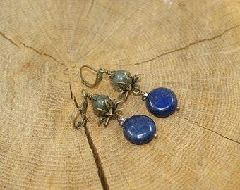 Lapis Lazuli and Labradorite earrings
