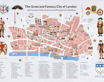 The City of London A3 Printed Map of Livery Halls, Places of Worship and Principal Civic Buildings