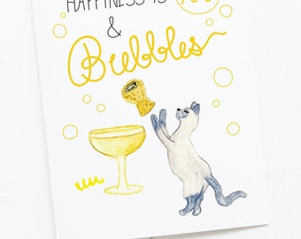 Happiness is YOU & Bubbles Greeting Card - Love Greeting Card - Cat watercolor art with hand-lettering