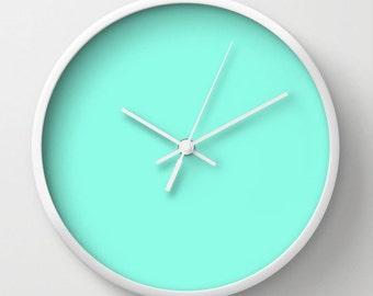 Clock, Mint Green Clock, Pastel Green Clock, Green Clock, Wall Clock, Pastel Clock, Aqua Clock, Home Decor, Kitchen Clock, Mint Clock
