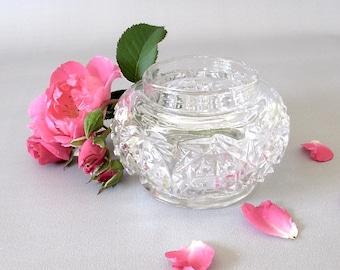 Vintage Pressed Glass Jar. Bowl. Pattern Glass. Pressed Glass. Trinket Dish. Jewelry Holder. Vase. Clear Glass. Dresser. Bathroom Vanity[15]