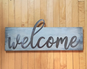 Wood and Metal Sign - Welcome