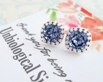 Emma - Tanzanite Purple Swarovski Crystal Silver Ear Studs, Wedding Bridesmaid Earrings Jewelry, Swarovski Studs Square Cushion 10mm