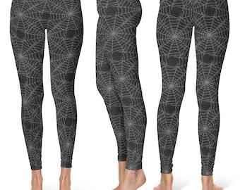 Black Spider Web Leggings, Halloween Leggings, Goth Leggings, Spooky Black Yoga Pants