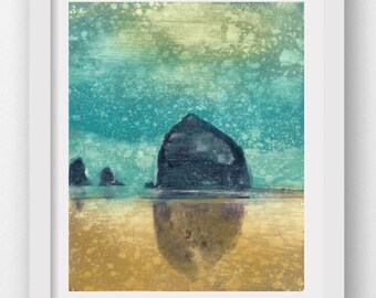AFTERNOON RAIN, limited edition fine art print, Haystack Rock, Cannon Beach, Oregon Coast art, coastal art