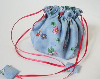 Butterflies and Flowers Blue Fabric Posy Pouch