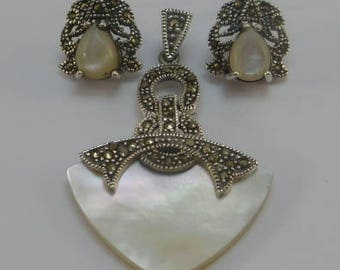 set three piece ; shell, sterling silver and marquesita and cultivated pearls, perfect gifts