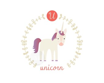 U is for unicorn, letter print, nursery decor, instant download birth print, unicorn, cute name print, mythical creature