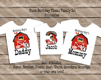 Down On the Farm Theme Family Set Digital Printables for iron-ons, heat transfer, Scrapbooking, Cards, Tags, Invitations, DIY YOU PRINT
