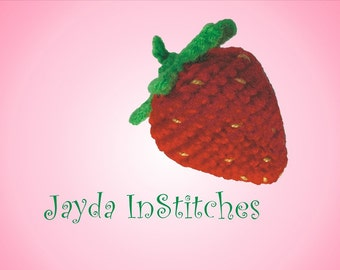 Crochet Strawberry Pattern - Pin Cushion or Bean Bag Toy - Jayda InStitches