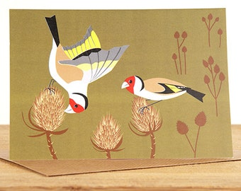 Goldfinches on Teasels Greetings Card