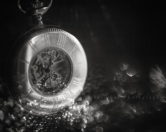 """black and white photography, pocket watch, clock, wall art, monochromatic wall art: 16x24, 11x16 or 8x12 photograph, """"Of the Essence"""""""