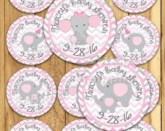 Baby girl Elephant stickers Party favor tags Thank you tags Gift tag Cupcake toppers favor tags Baby shower elephant tags neutral PRECUT