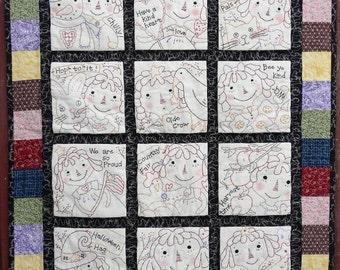 Raggedy Ann embroidery quilt Pattern PDF - 12 months seasonal primitive