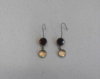 Sterling Silver .925 Stamped Salat Red Ruby? Garnet Dangle Pierced Earrings