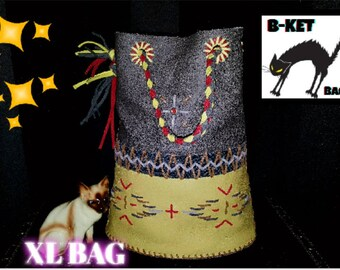 chimayo leather handmade repro vintage bag XL  * rockabilly