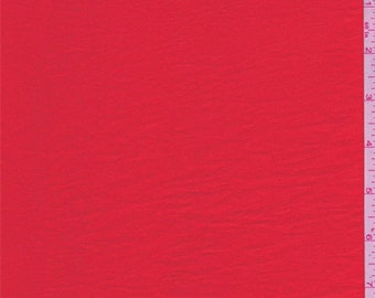 Fiery Red Crinkled Crepe de Chine, Fabric By The Yard