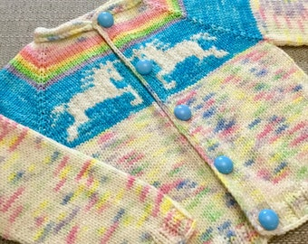 Unicorn cardigan knitting pattern 6 months to 2 years