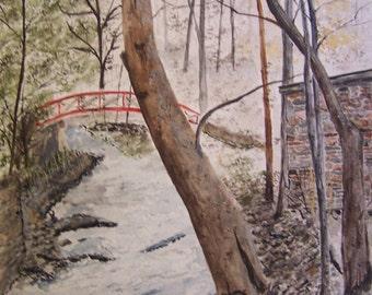 "Original watercolor painting, painting of bridge and creek,""ROARING WATERS"",9.5 x 14""h,Artist Peter Kundra"
