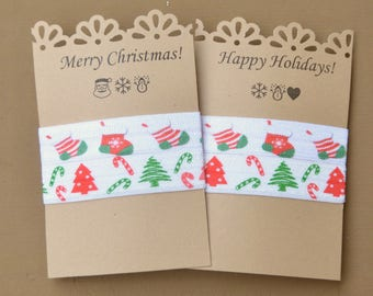 Christmas Stocking/Candy Cane/Christmas Tree Hair Tie/ Bracelet/Yoga Hair Ties/No Crease Hair Ties