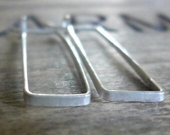 Svelte Hoops Medium - Handmade. Hand forged. Matte Sterling Silver Earrings