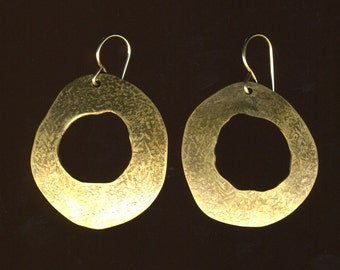 Copper or Brass hammered hoop donut dangle earrings organic shape